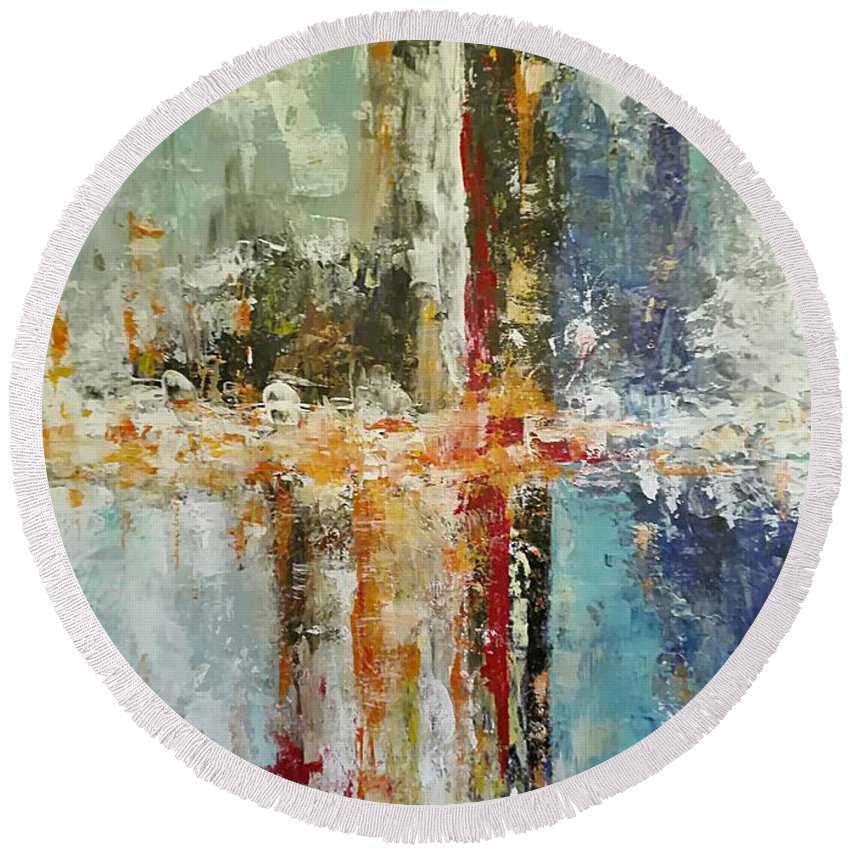 Abstract Round Beach Towel featuring the painting Astratto by Giuseppina Rizzi