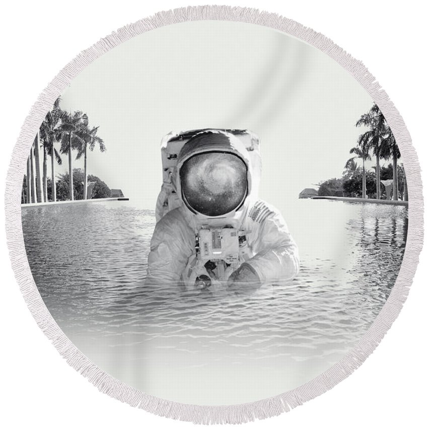 Collage Round Beach Towel featuring the photograph Astronaut by Fran Rodriguez