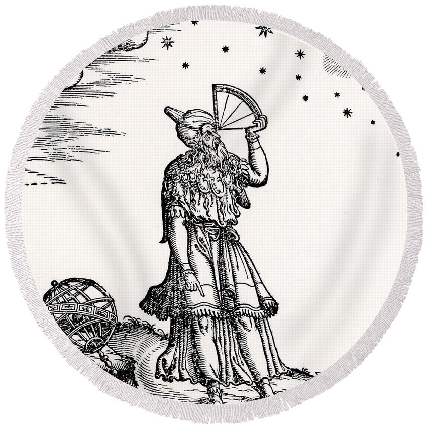 Astronomer Round Beach Towel featuring the drawing Astronomer, Probably Ptolemy Of Alexandria by Venetian School