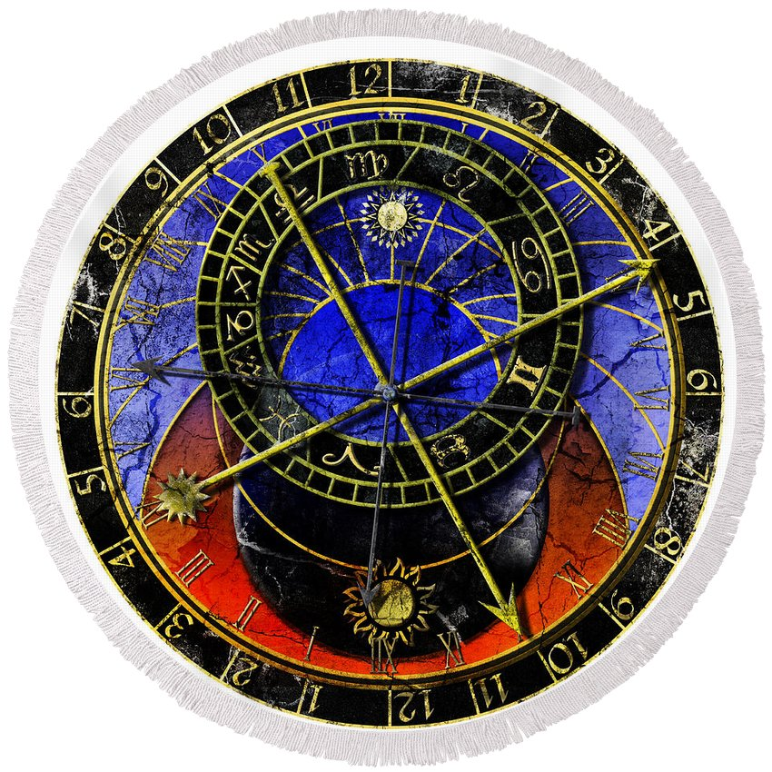 Grunge Round Beach Towel featuring the digital art Astronomical Clock In Grunge Style by Michal Boubin