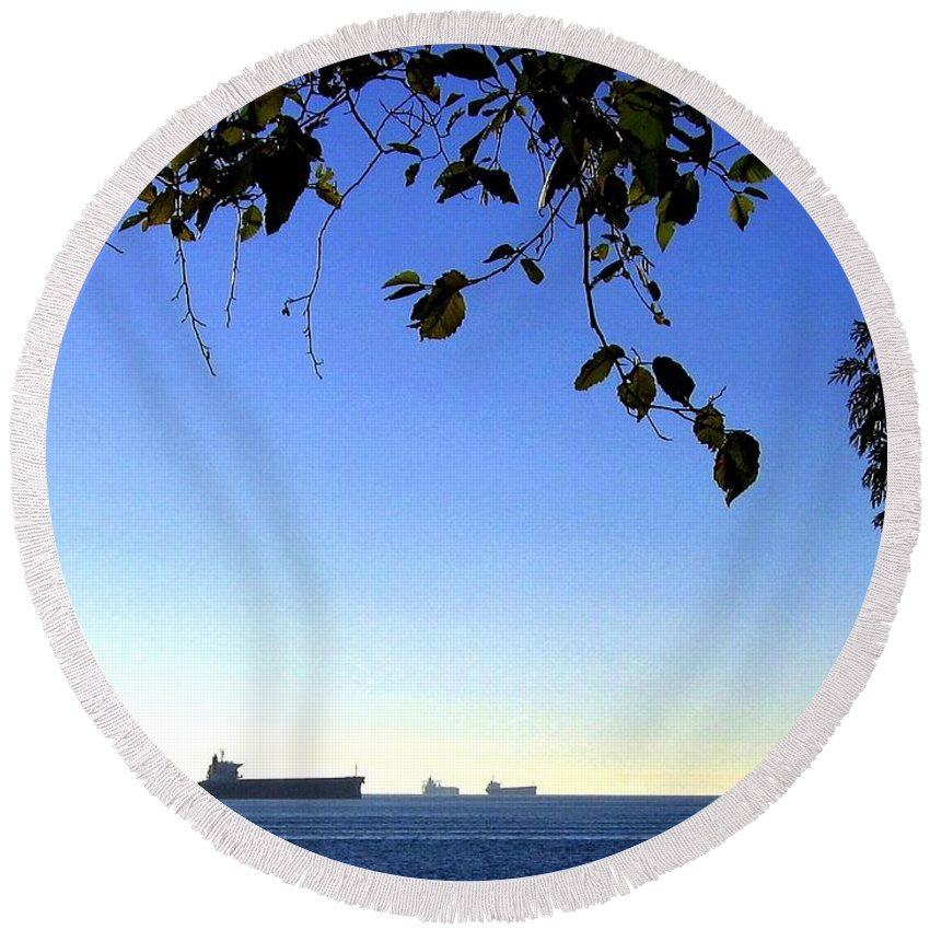 Freighters Round Beach Towel featuring the photograph At Anchor by Will Borden