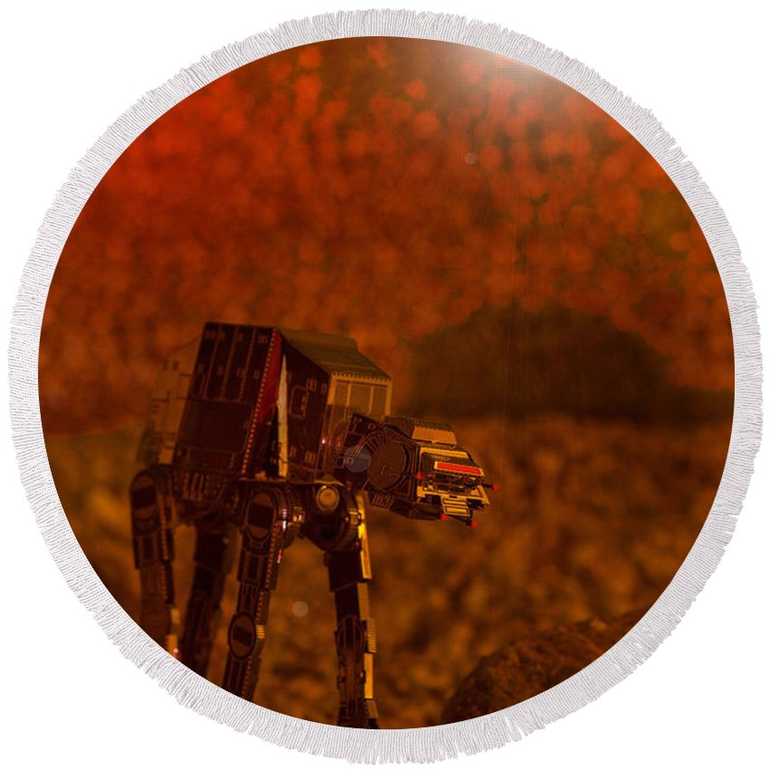 At-at Round Beach Towel featuring the photograph At-at 2 by Robert Storost