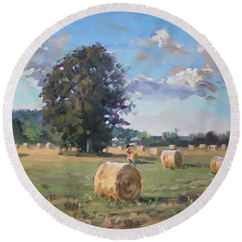 Hay Stoks Round Beach Towel featuring the painting At Cathy's Farm Georgetown by Ylli Haruni