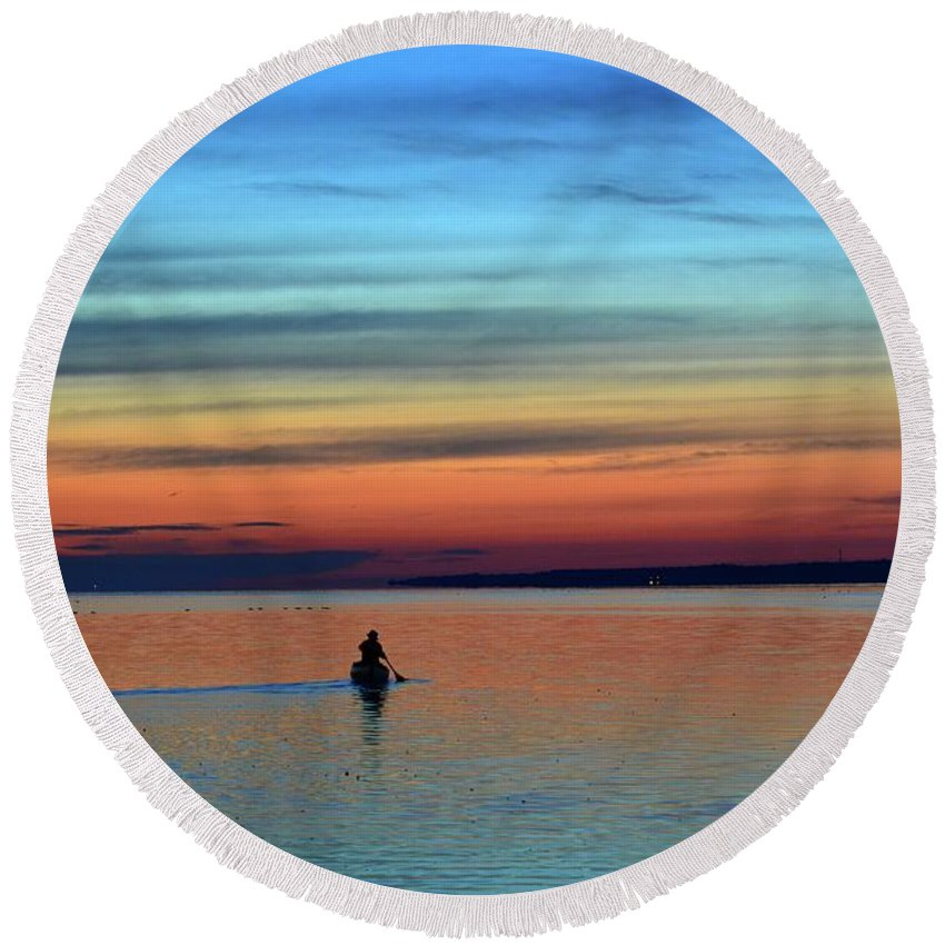 Abstract Round Beach Towel featuring the photograph At Dawn In A Canoe by Lyle Crump