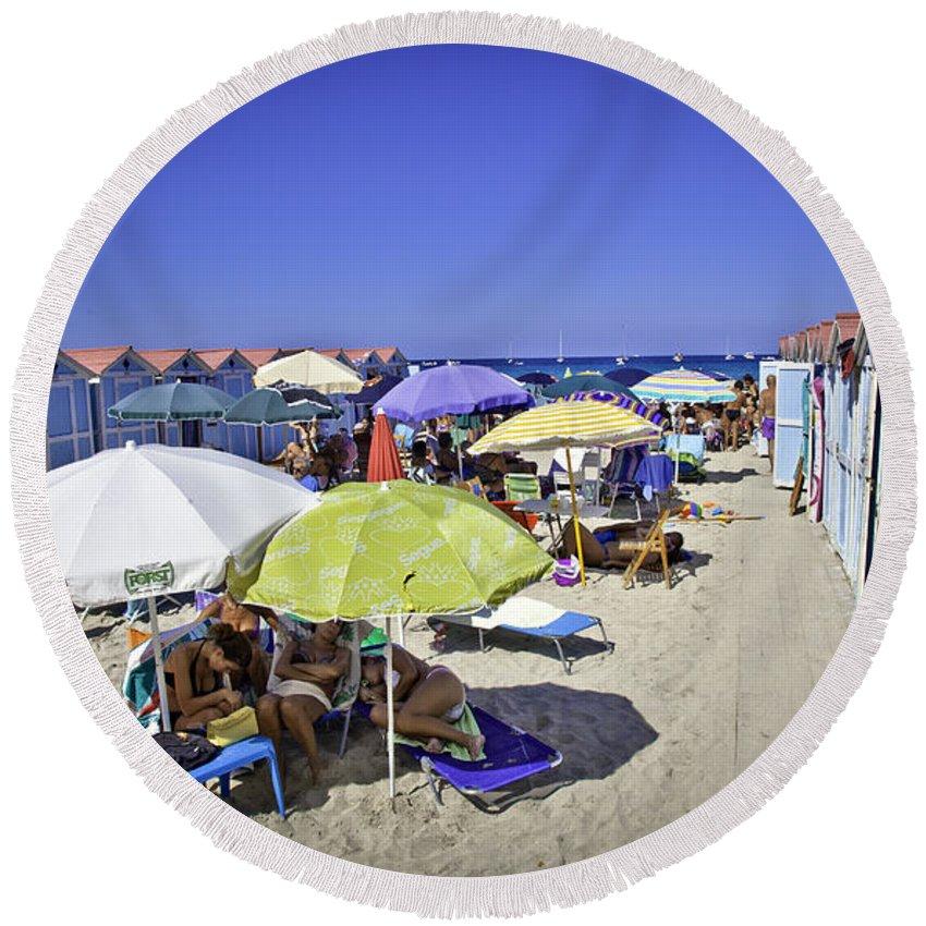 Mondello Beach Round Beach Towel featuring the photograph At Mondello Beach - Sicily by Madeline Ellis