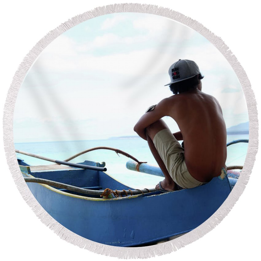 Mati Round Beach Towel featuring the photograph At Others I Just Sit by Jez C Self