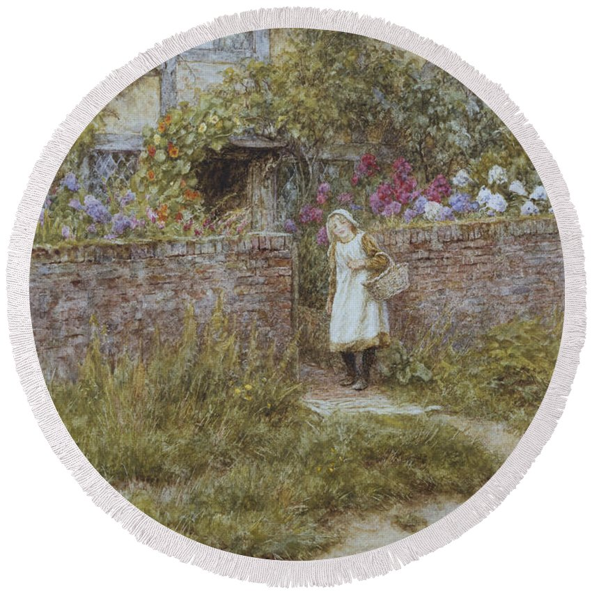 English; Landscape; Rural; Cottage; Gate; Gateway; Girl; Child; Path; C19th; C20th; Victorian Round Beach Towel featuring the painting At Sandhills by Helen Allingham