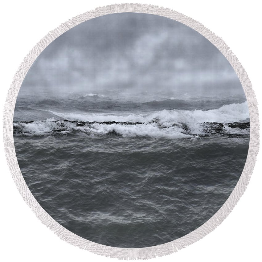 Beach Round Beach Towel featuring the photograph At Sea by Margie Hurwich