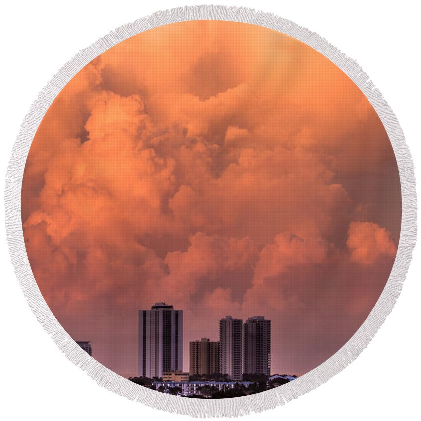Skyscrapes Round Beach Towel featuring the photograph At Sunset In West Palm Beach by Zina Stromberg