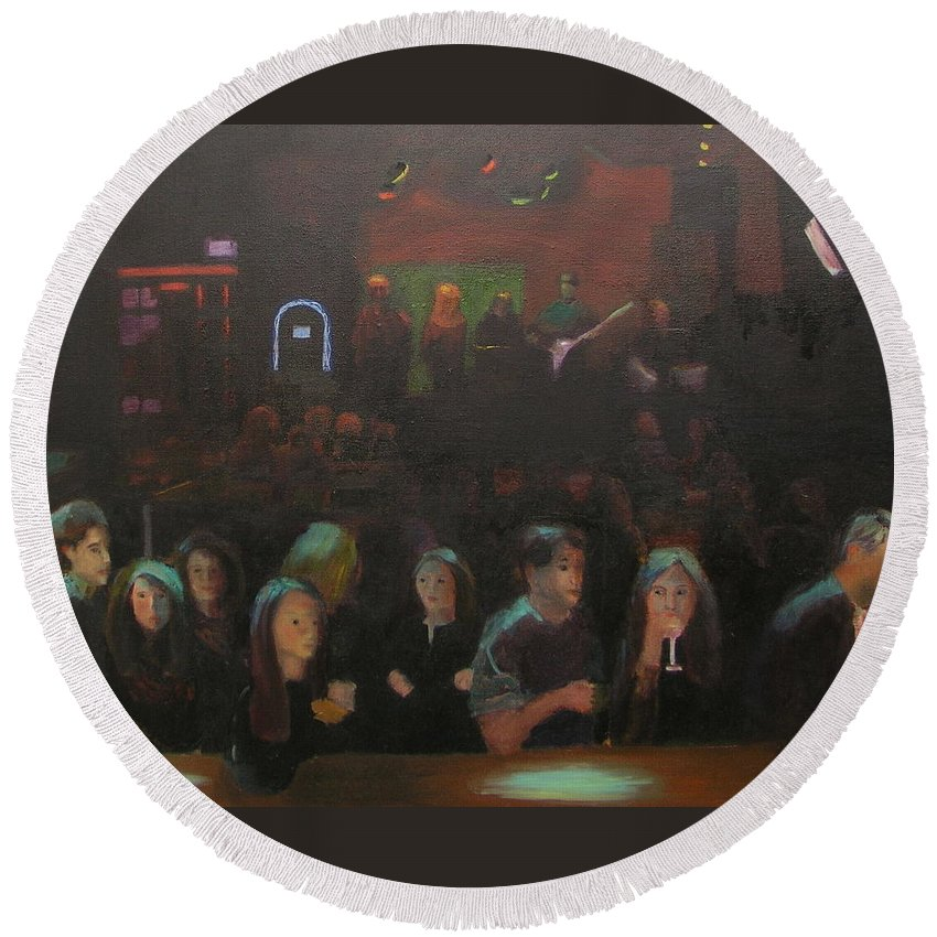 Tavern Round Beach Towel featuring the painting At The Bar by Gail Eisenfeld