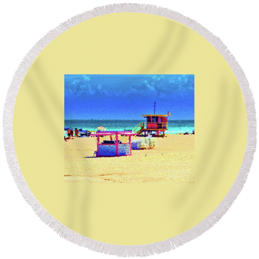 Beach Round Beach Towel featuring the photograph At The Beach by Jost Houk
