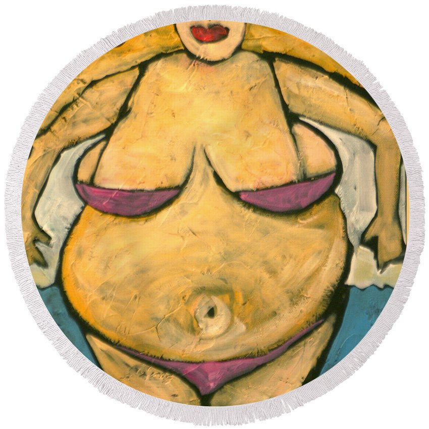 Woman Round Beach Towel featuring the painting At The Beach by Tim Nyberg