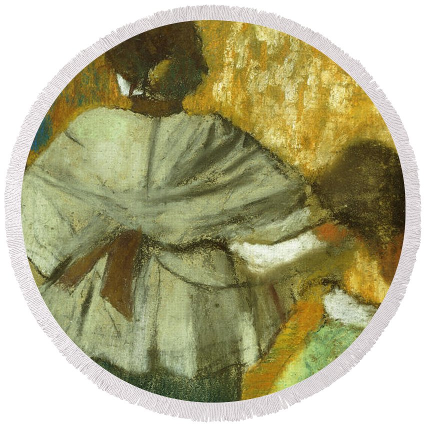 Degas Round Beach Towel featuring the pastel At The Couturier, The Fitting by Edgar Degas