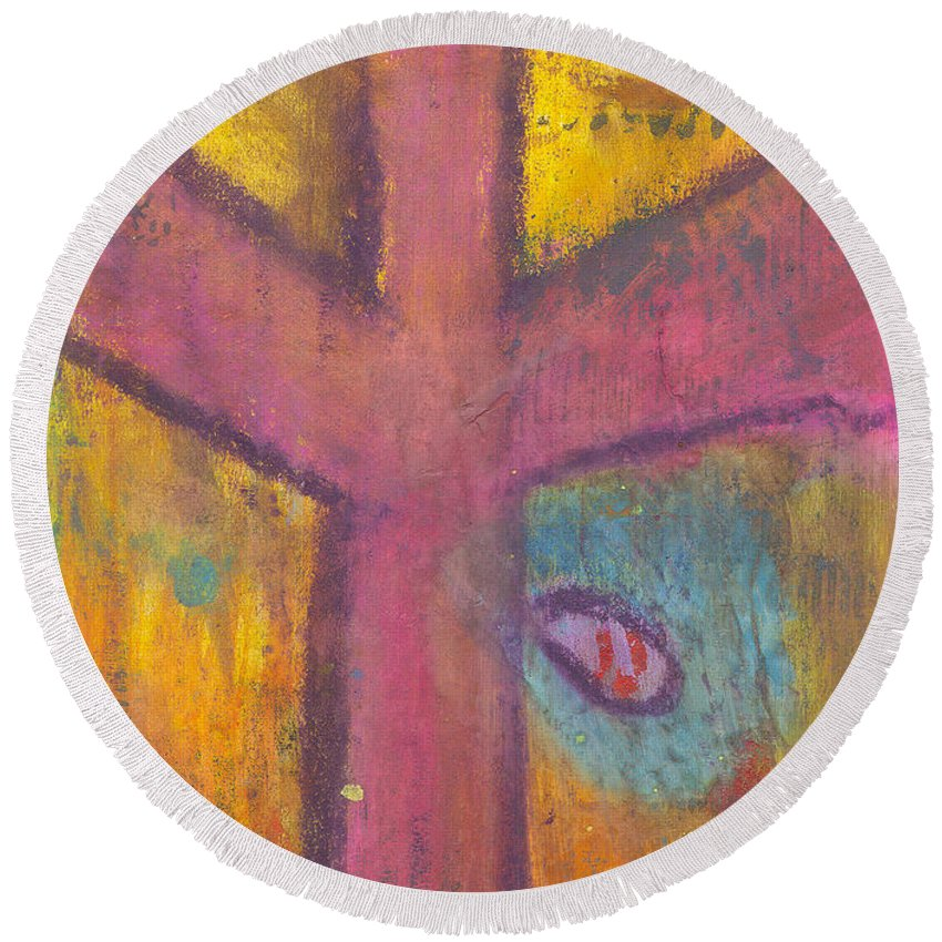 Cross Round Beach Towel featuring the mixed media At The Cross by Angela L Walker