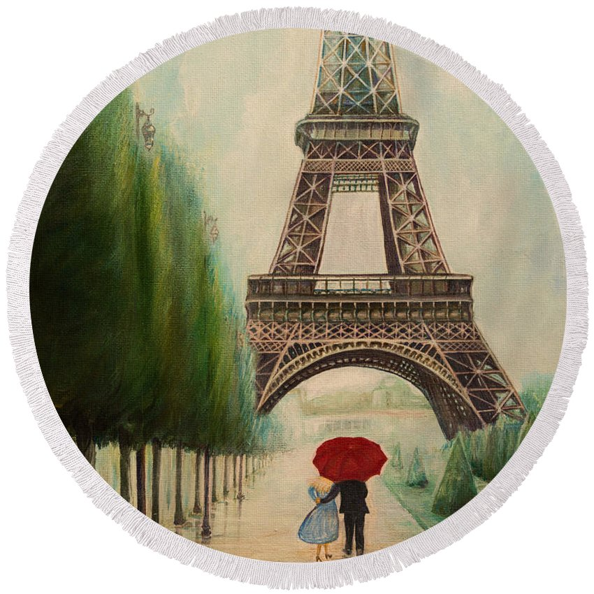 Eiffel Tower Round Beach Towel featuring the painting At The Eiffel Tower by Zina Stromberg