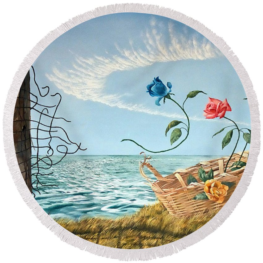 Flower Round Beach Towel featuring the painting At The End Of The Fence I Am Free by Christopher Shellhammer