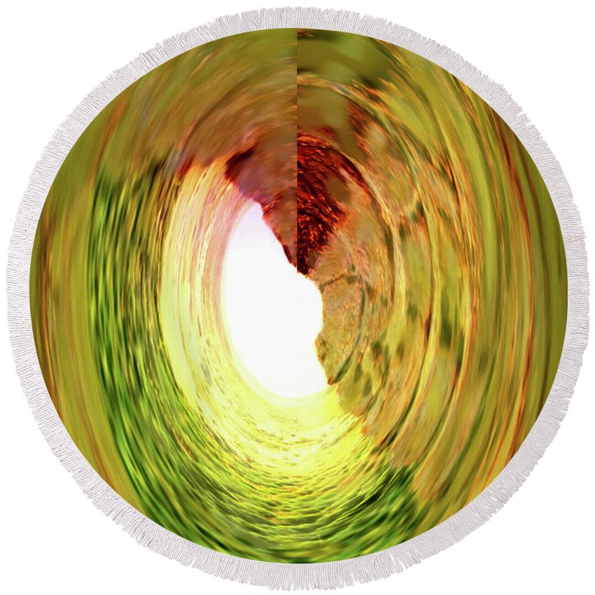 Abstract Round Beach Towel featuring the digital art At The End Of The Tunnel by Ian MacDonald