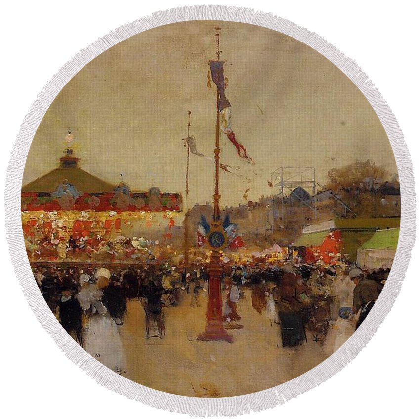 At The Fair (oil On Canvas) By Luigi Loir (1845-1916) Fair; Fairground; Fete; Carousel; Merry-go-round; Figures; Crowd; Crowds; France; French; Flag; Flags; Tricolour; Impressionist; Impressionism; Attraction Round Beach Towel featuring the painting At The Fair by Luigi Loir