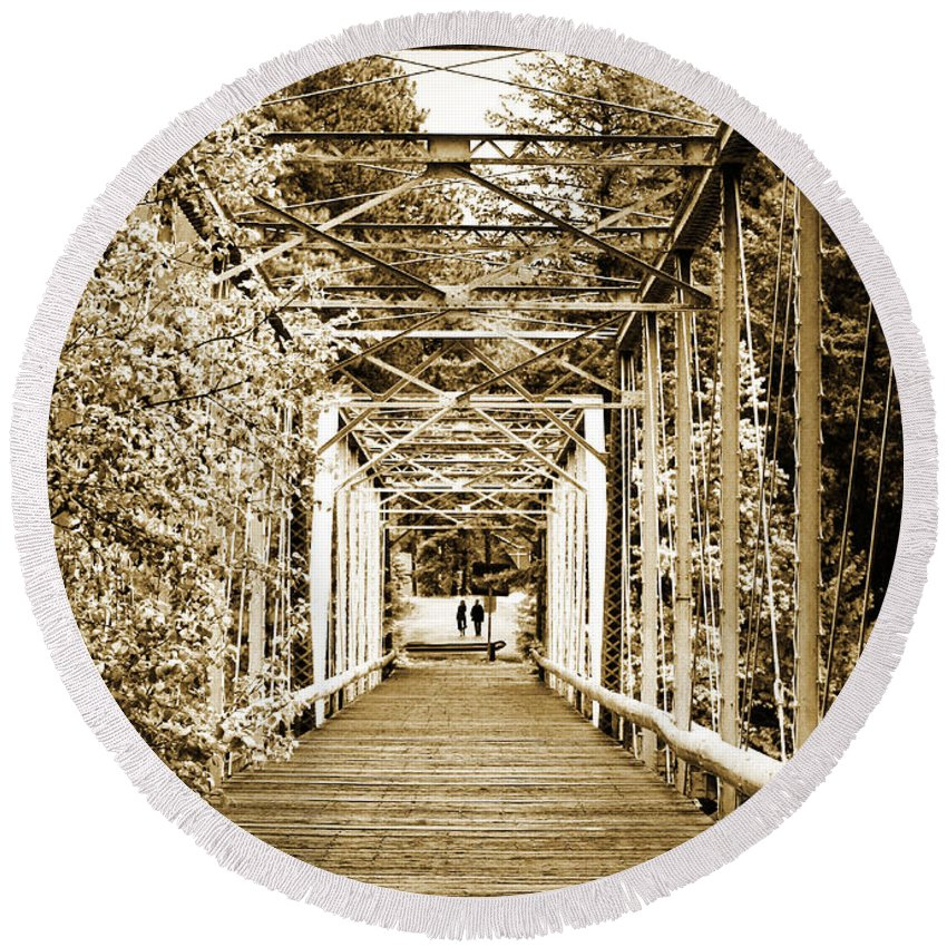 Bridge Round Beach Towel featuring the photograph At The Other End Of The Old Bridge by Tara Turner