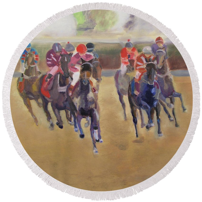 Horses Round Beach Towel featuring the painting At The Races by Gail Eisenfeld