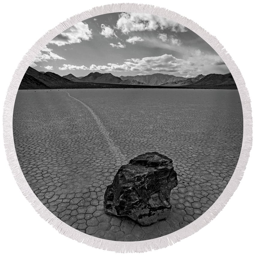Death Valley Round Beach Towel featuring the photograph At The Racetrack by Darrel Giesbrecht