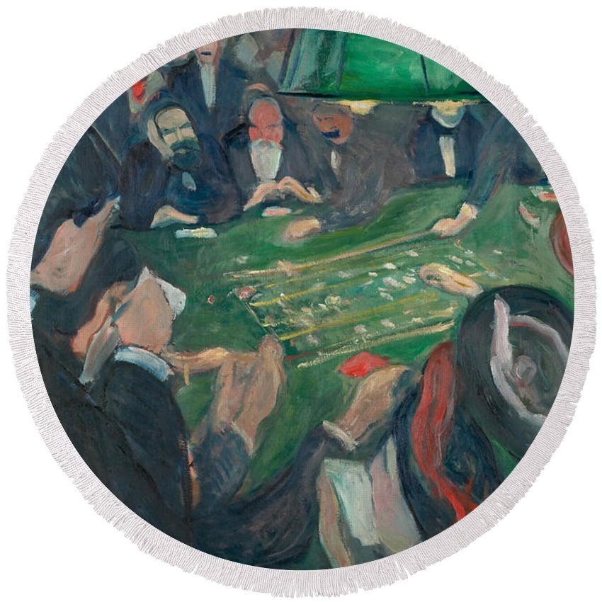 Roulette Table In Monte Carlo Edvard Munch Framed Canvas Print Fine Art Picture