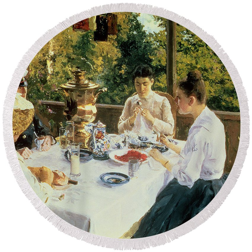 The Round Beach Towel featuring the painting At the Tea-Table by Konstantin Alekseevich Korovin