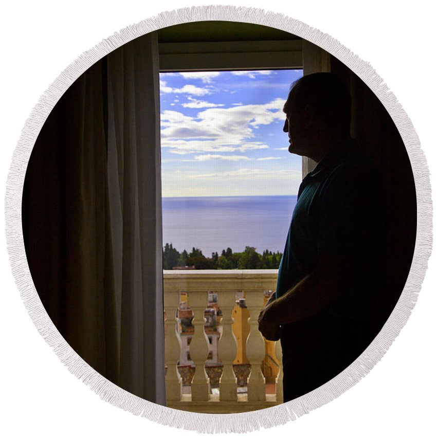 Window Round Beach Towel featuring the photograph At The Window In Taormina by Madeline Ellis