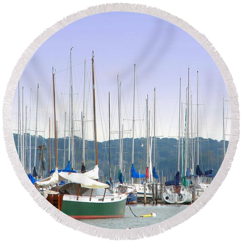Seascape Round Beach Towel featuring the photograph At The Yacht Club by Todd A Blanchard