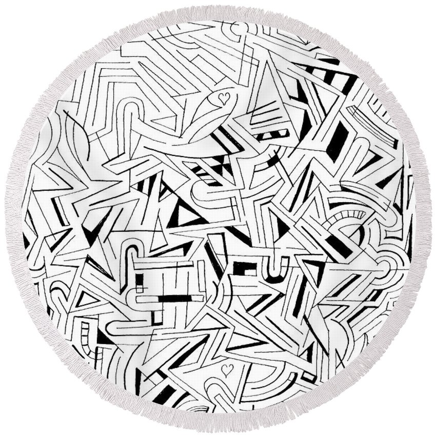 Abstract Round Beach Towel featuring the drawing Atattvaarthavat H by Steven Natanson