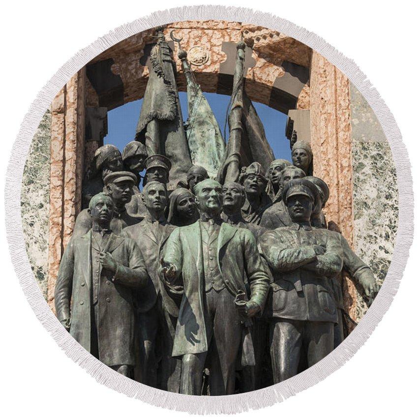 Taksim Square Istanbul Turkey Mustafa Penal Ataturk Statue Republic Monument Monuments Bronze Statues City Cities Cityscape Cityscapes Art Artwork Structure Structures Architecture Round Beach Towel featuring the photograph Ataturk Statue by Bob Phillips