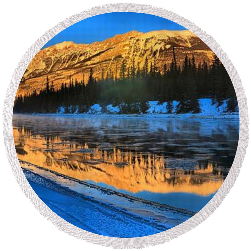 Round Beach Towel featuring the photograph Athabasca River Glow by Adam Jewell