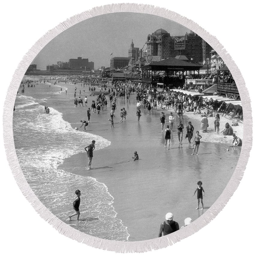American Round Beach Towel featuring the photograph Atlantic City, 1920s by Granger