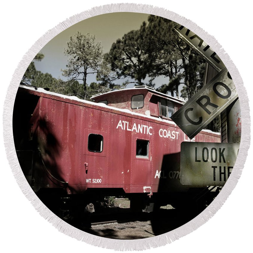 Atlantic Round Beach Towel featuring the photograph Atlantic Coast Line Railroad Carriage by Mal Bray