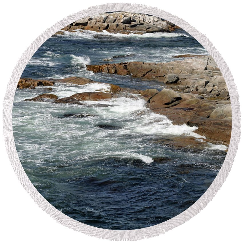 Atlantic Ocean Round Beach Towel featuring the photograph Atlantic by Colleen English