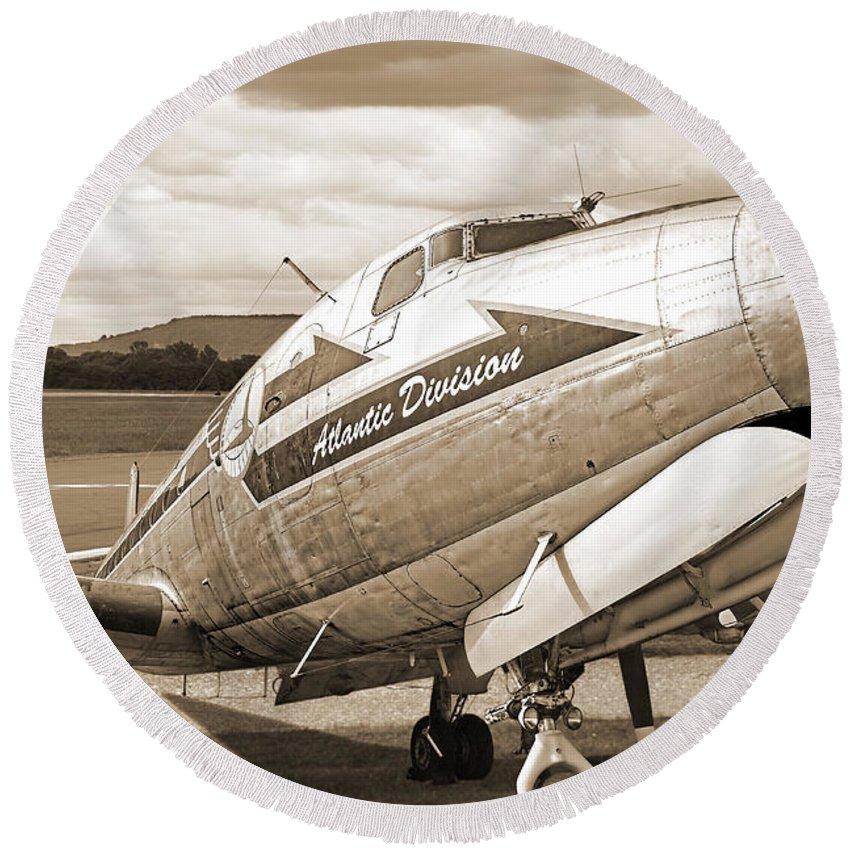 Aviation Round Beach Towel featuring the photograph Atlantic Division Sepia by Gill Billington