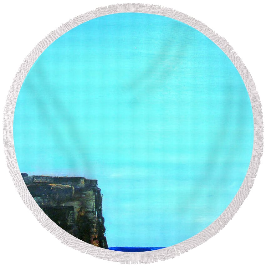 Round Beach Towel featuring the painting Atlantic by Martha Dolan