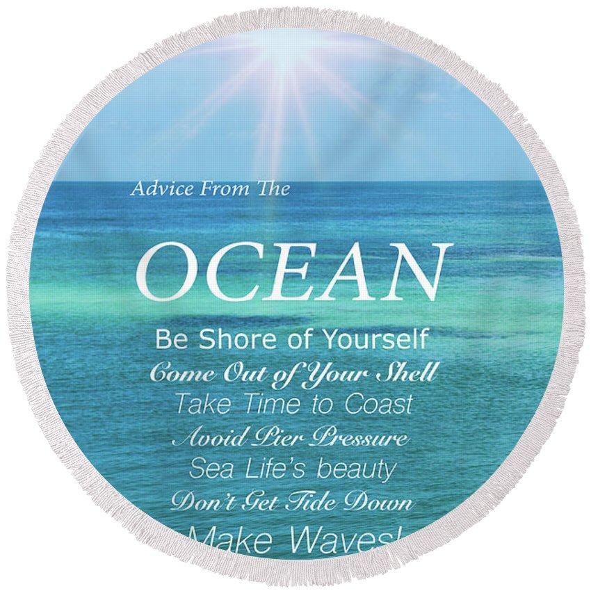 Atlantic Ocean Round Beach Towel featuring the photograph Atlantic Ocean by Art Spectrum