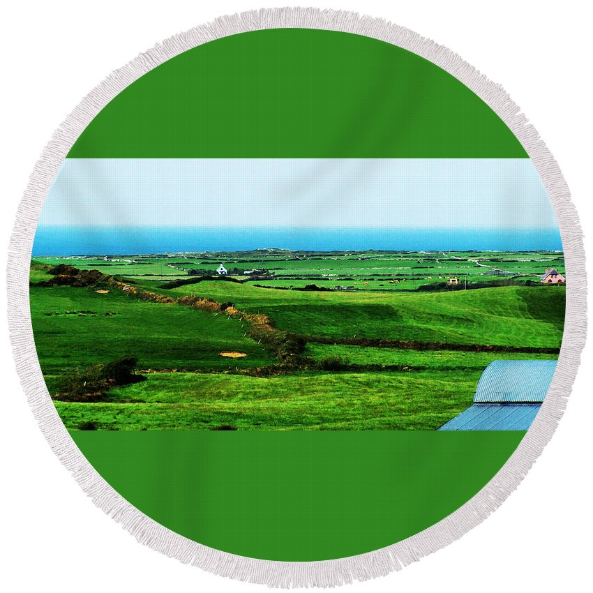Ireland Round Beach Towel featuring the photograph Atlantic View Doolin Ireland by Teresa Mucha