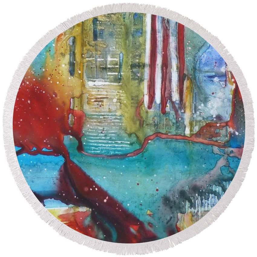 Abstract Round Beach Towel featuring the painting Atlantis Crashing Into The Sea by Ruth Kamenev