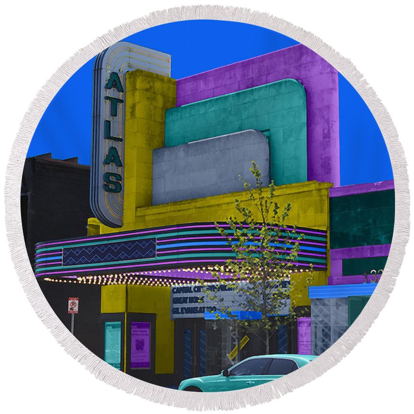 Atlas Round Beach Towel featuring the photograph Atlas Theatre by Jost Houk
