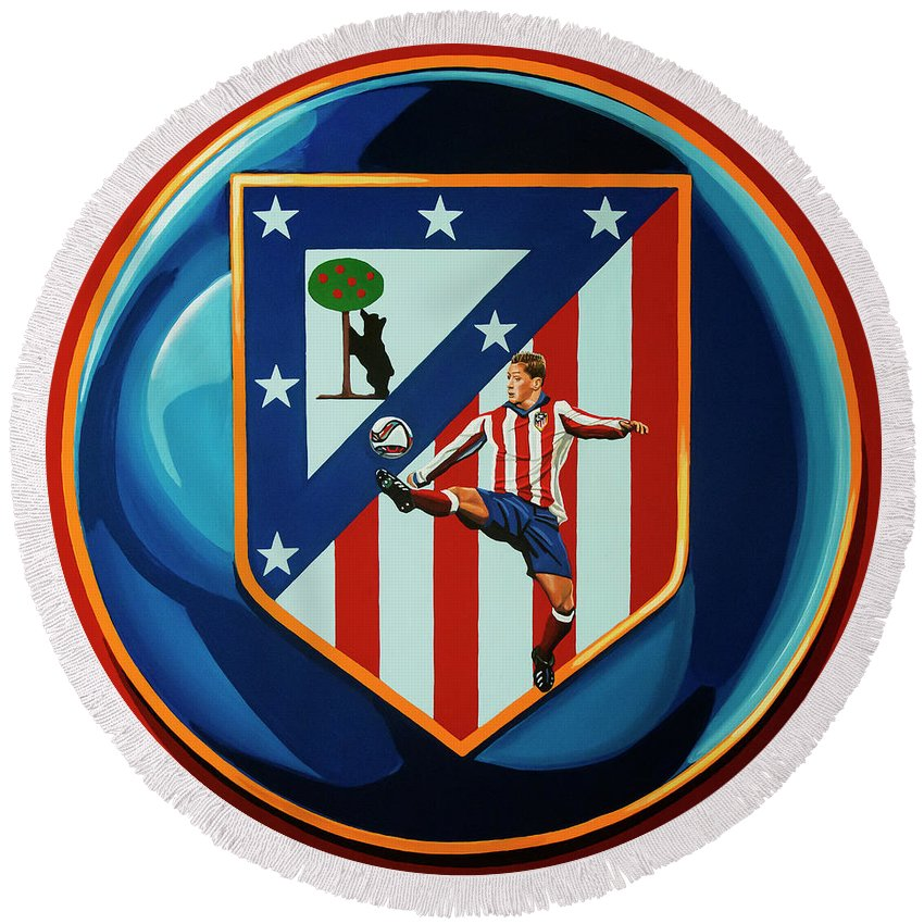 Atletico Madrid Round Beach Towel featuring the painting Atletico Madrid Painting by Paul Meijering