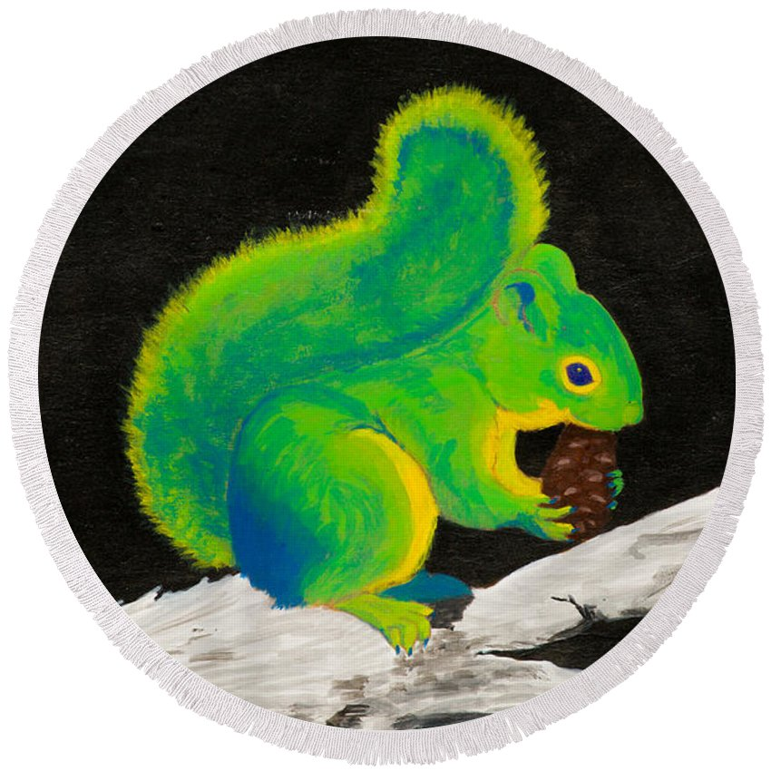 Squirrel Round Beach Towel featuring the painting Atomic Squirrel by Stefanie Forck