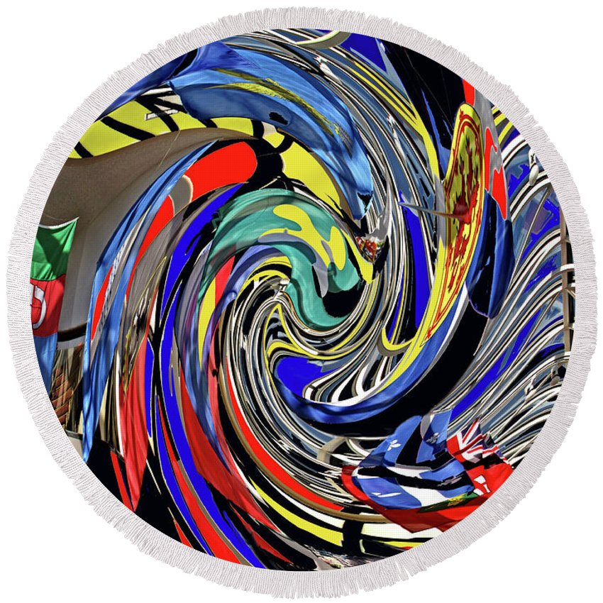 Abstract Round Beach Towel featuring the photograph Atrium by Ian MacDonald