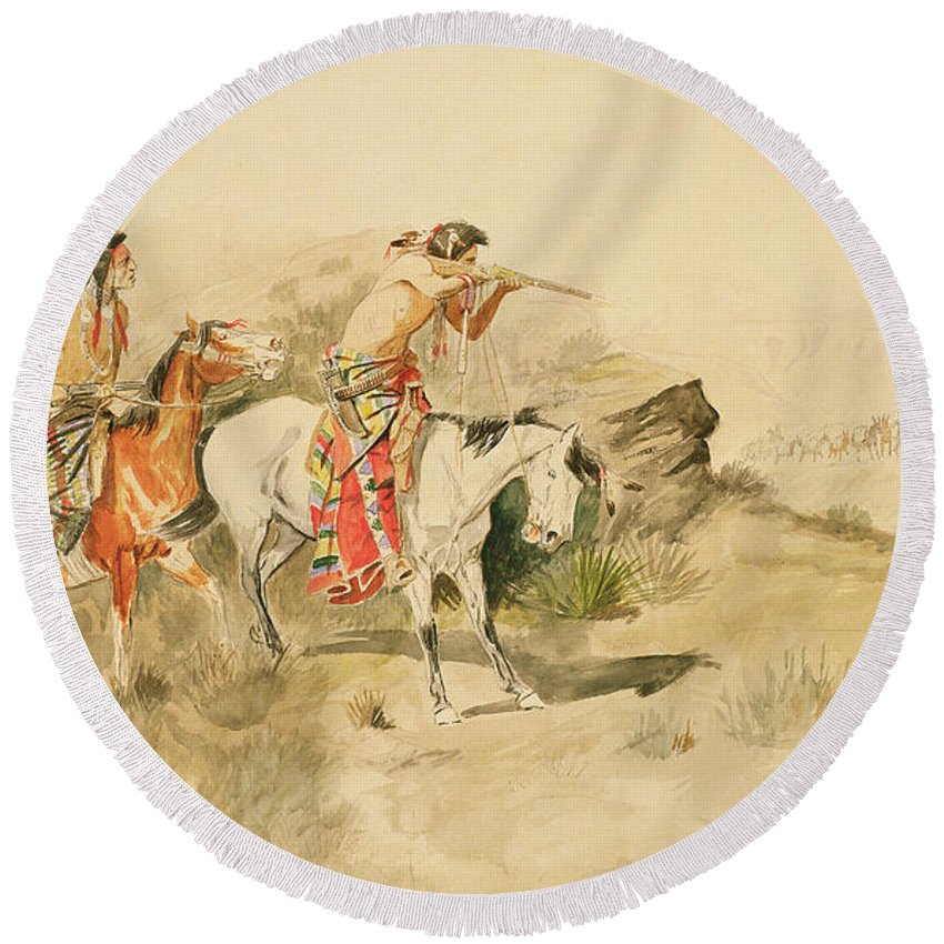 Charles Marion Russell Round Beach Towel featuring the painting Attack On The Muleteers by Charles Marion Russell