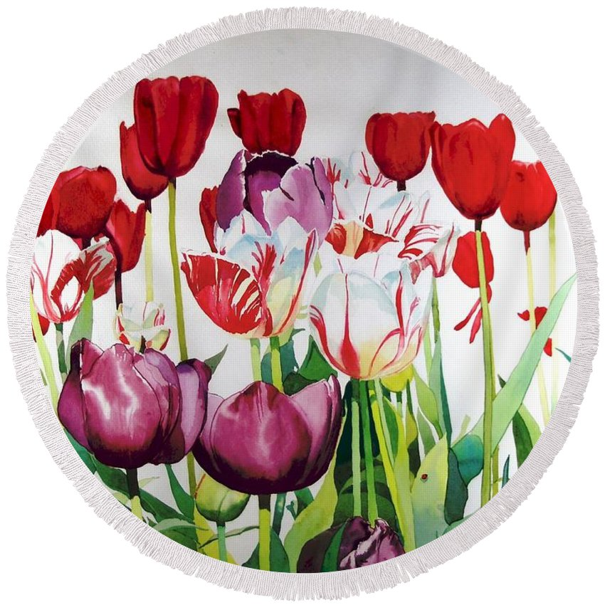 Tulips Round Beach Towel featuring the painting Attention by Elizabeth Carr