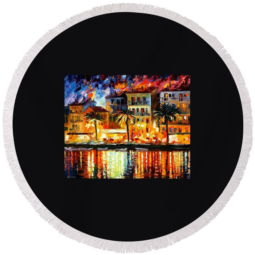 Afremov Round Beach Towel featuring the painting Attractive Corsica by Leonid Afremov