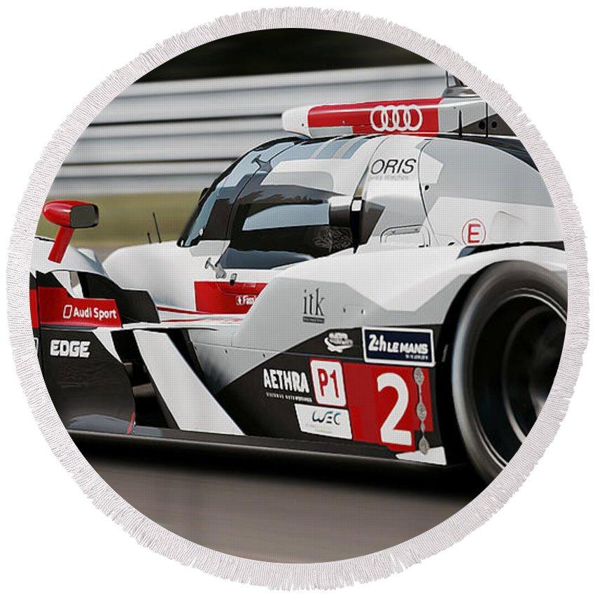 Audi Round Beach Towel featuring the photograph Audi R18 E-tron, Le Mans - 07 by Andrea Mazzocchetti