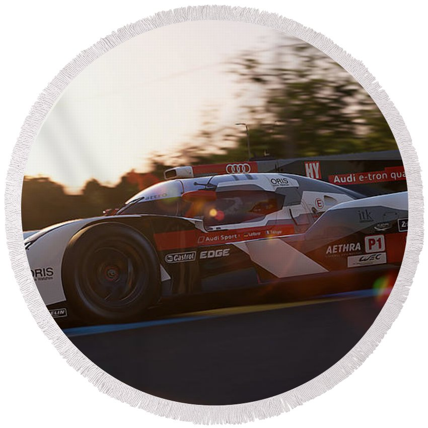 Audi Round Beach Towel featuring the photograph Audi R18 E-tron, Le Mans - 16 by Andrea Mazzocchetti