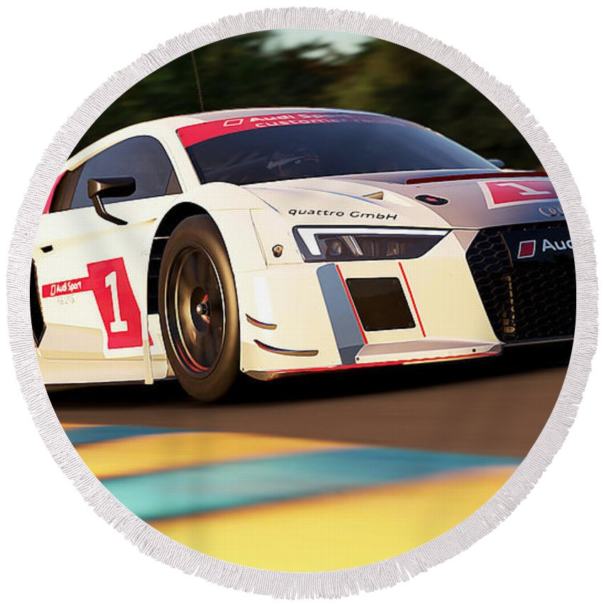 Audi Round Beach Towel featuring the photograph Audi R8 Lms - 03 by Andrea Mazzocchetti
